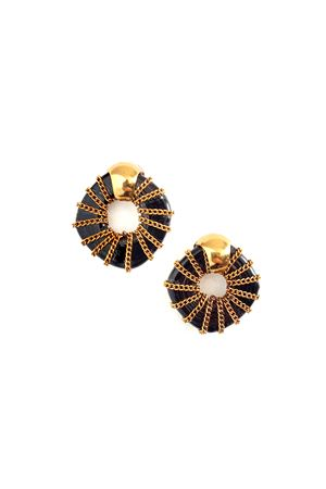 Helen Black Glass Ring Gold Stud Earrings