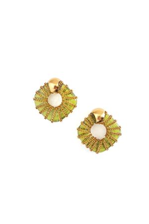Giselle Lime Green Glass Ring Gold Stud Earrings