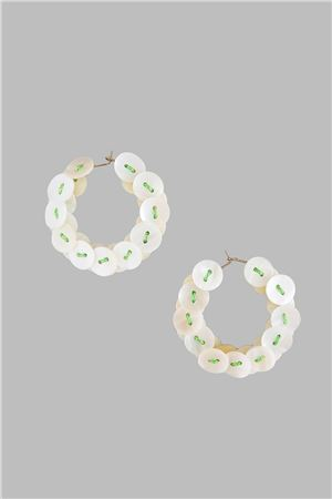 Mother Of Pearl Button Green Thread Hoop Earrings