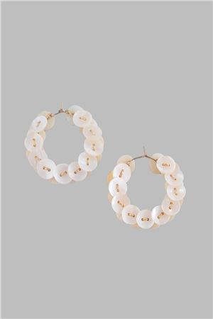 Mother Of Pearl Button Gold Hoops