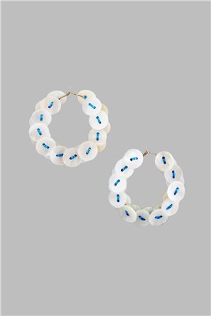 Mother Of Pearl Button Blue Thread Hoop Earrings