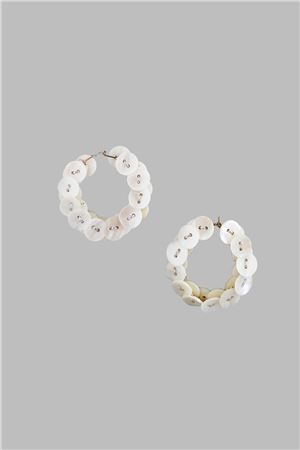 Mother Of Pearl Button Silver Thread Hoop Earrings