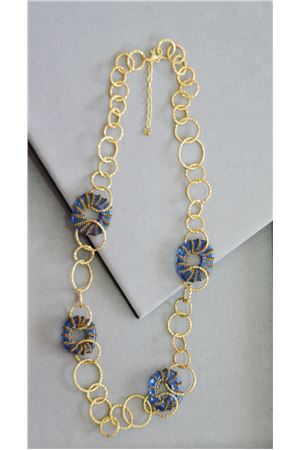 Shannon Blue Glass And Gold Rings Long Necklace
