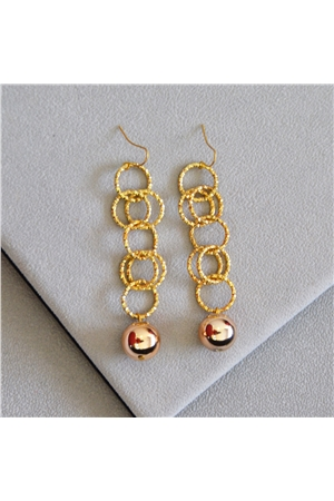 Savannah Gold Rings Ball Long Earrings