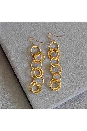 Sophia Gold Rings Long Earrings