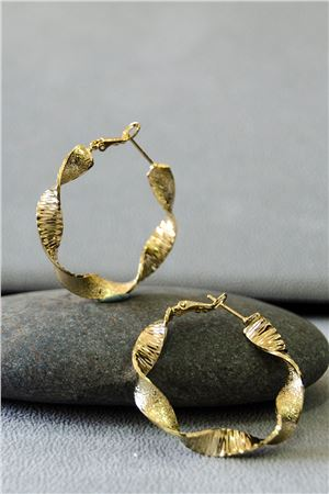 Pheobe Gold Twisted Hoop Earrings