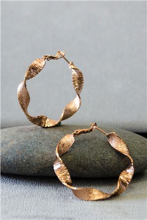 Avery Rose Gold Twisted Hoop Earrings