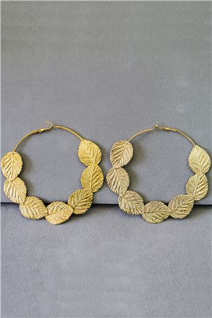 Lyla Gold Leaf Oversized Hoop Earrings