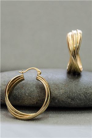 Nicolette Interlocked Gold Hoop Earrings