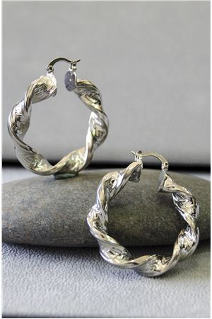 Sienna Silver Twisted Hoop Earrings