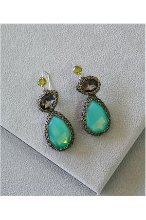 Emily Turquoise Crystal Crochet Earrings
