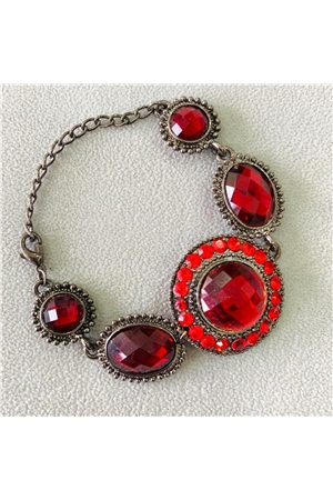 Modernistic Red Gemstone Bracelet