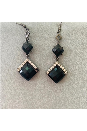 Musty Black Gemstone Diamante Earrings