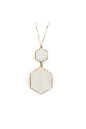 Double Hexagon White Stone Pendant Necklace
