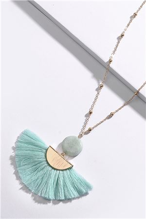 Turquoise Fringe Long Tassel Necklace
