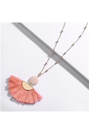 Pink Fringe Rose Quartz Stone Tassel Necklace