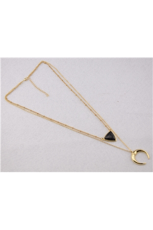 Horse Shoe Triangle Charm Layered Delicate Black Necklace