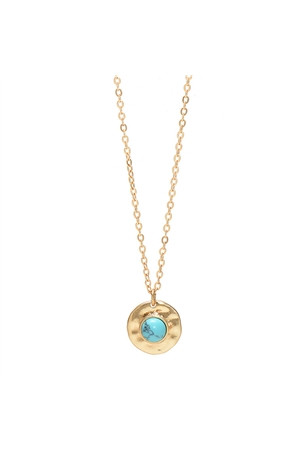 Turquoise Stone Gold Round Pendant Necklace