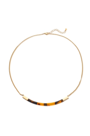 Tortoise Stone Bar Choker Minimal Necklace