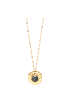 Black Stone Gold Round Pendant Necklace