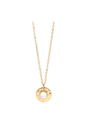 White Stone Gold Round Pendant Necklace