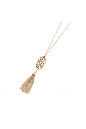 Delicate Gold Pendant Tassel Necklace
