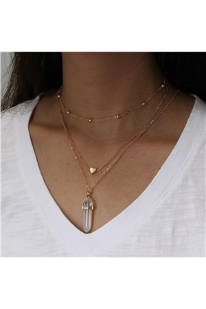 Clear Spearhead Stone Heart Charm Pendant Layered Necklace