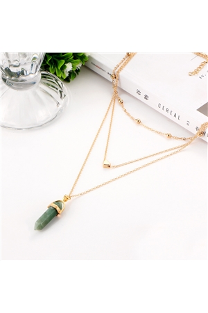 Green Spearhead Stone Heart Charm Pendant Layered Necklace
