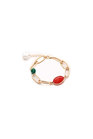 Colour Stones Gold Link Bracelet