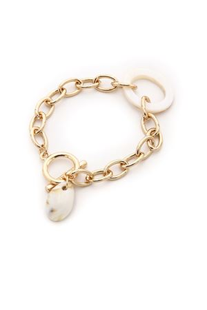 Summer Beach Gold Links Shell Charm Bracelet