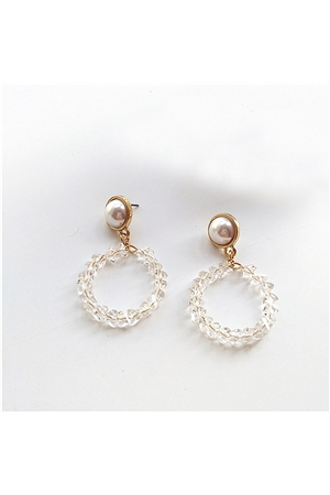 Acrylic Beaded Round Hoop Earrings