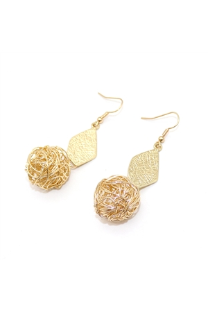 Delicate Pearl Mesh Ball Gold Drop Earrings