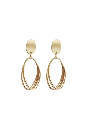 Matt Gold Disc Wire Dangler Earrings