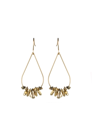 Gold Bead Tear Drop Wired Dangler Earrings