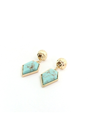 Turquoise Marble Stone Diamond Drop Earrings