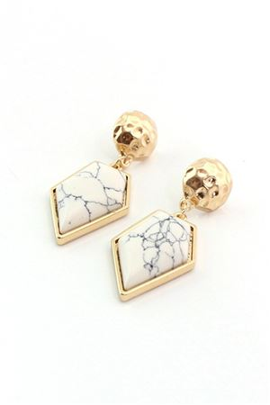 White Marble Stone Diamond Drop Earrings