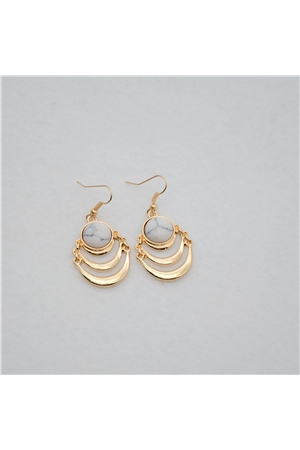 White Marble Stone Gold Layered Drop Earrings