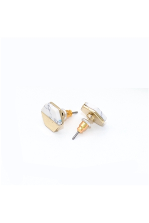 White Half Marble Half Gold Delicate Stud Earrings
