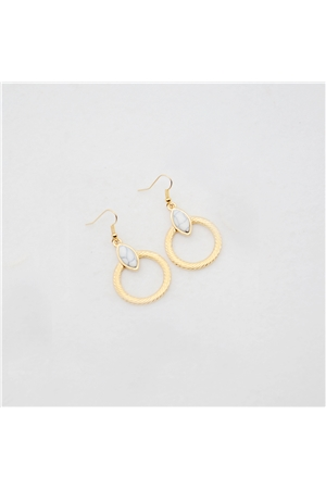 White Stone Gold Hoop Earrings