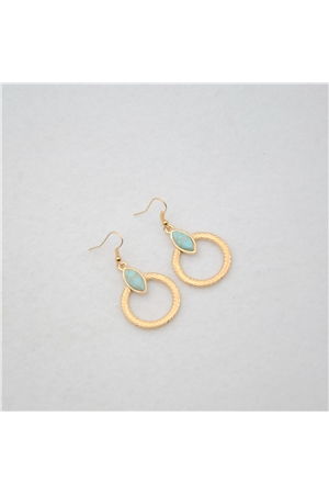 Turquoise Stone Gold Hoop Earrings