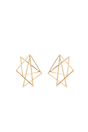 Geometric Star Gold Stud Earrings