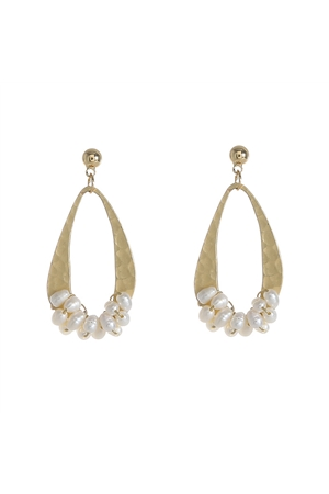 Teardrop Matt Gold Pearl Dangler Earrings