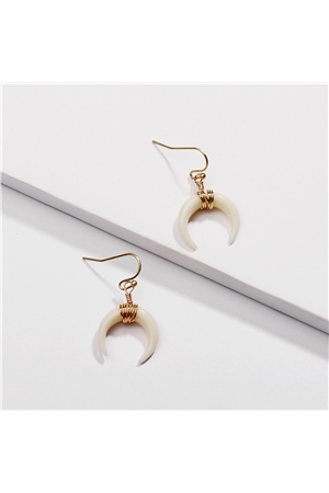 Ivory Horse Shoe Gold Dangler Earrings