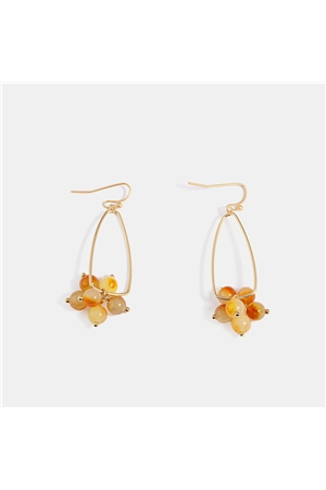 Delicate Amber Beads Gold Drop Earrings
