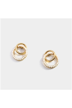 Delicate Pearl Bead Gold Rings Stud Earrings
