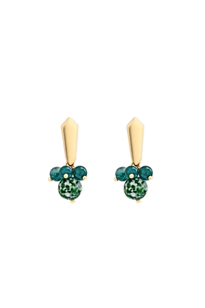 Trinkly Emerald Bead Stud Earrings
