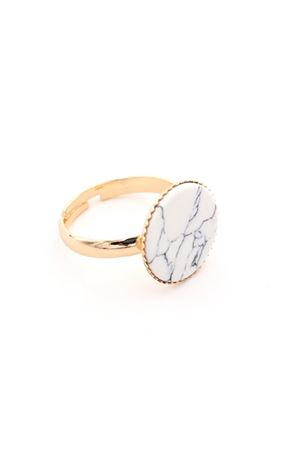 Sleek White Turquoise Stone Marble Ring