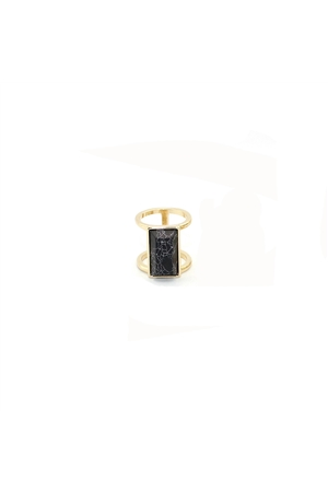 Black Turquoise Stone Marble Bar Gold Ring