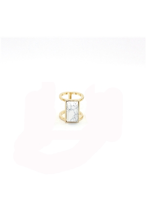 White Turquoise Stone Marble Bar Gold Ring