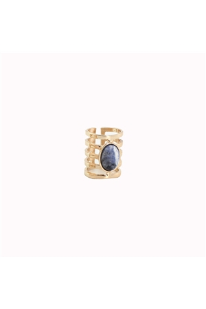 Boho Blue Stone Gold Ring